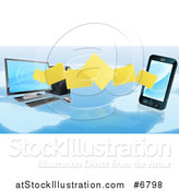 Vector Illustration of a 3d Folder File Transfer from a Desktop Computer to a Smart Cell Phone over a Map by AtStockIllustration