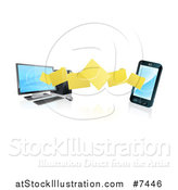 Vector Illustration of a 3d Folder File Transfer from a Desktop Computer to a Smart Cell Phone, with Reflections by AtStockIllustration
