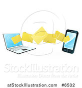Vector Illustration of a 3d Folder File Transfer from a Laptop to a Smart Cell Phone by AtStockIllustration