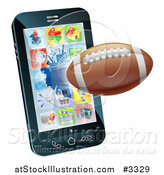 Vector Illustration of a 3d Football Flying Through and Breaking a Cell Phone Screen by AtStockIllustration