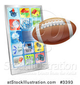 Vector Illustration of a 3d Football Flying Through and Breaking a Smart Cell Phone Screen by AtStockIllustration