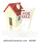 Vector Illustration of a 3d for Sale Sign and Cute Little House with a Reflection by AtStockIllustration