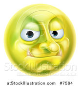 Vector Illustration of a 3d Forum Troll Yellow Smiley Emoji Emoticon Face by AtStockIllustration