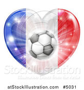 Vector Illustration of a 3d French Flag Heart and Soccer Ball by AtStockIllustration