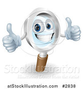 Vector Illustration of a 3d Friendly Magnifying Glass Mascot Holding Two Thumbs up by AtStockIllustration
