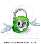 Vector Illustration of a 3d Friendly Padlock with Open Arms by AtStockIllustration