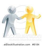 Vector Illustration of a 3d Friendly Silver Man Shaking Hands with a Gold Guy by AtStockIllustration