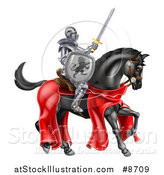 Vector Illustration of a 3d Full Armored Medieval Knight on a Black Horse, Holding up a Sword and Shield by AtStockIllustration