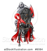 Vector Illustration of a 3d Fully Armored Jousting Knight Charging Forward with a Lance on a Black Horse by AtStockIllustration