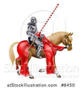Vector Illustration of a 3d Fully Armored Jousting Knight Holding a Lance on a Horse by AtStockIllustration