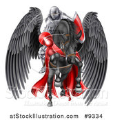 Vector Illustration of a 3d Fully Armored Medieval Jousting Knight Holding a Lance on a Black Pegasus Horse As They Charge Forward by AtStockIllustration