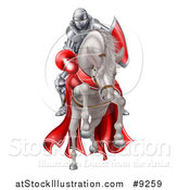 Vector Illustration of a 3d Fully Armored Medieval Jousting Knight Holding a Lance on a Horse As They Charge Forward by AtStockIllustration