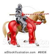 Vector Illustration of a 3d Fully Armored Medieval Jousting Knight Holding a Lance on a Horse by AtStockIllustration