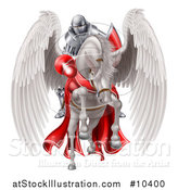 Vector Illustration of a 3d Fully Armored Medieval Jousting Knight Holding a Lance on a White Pegasus Horse As They Charge Forward by AtStockIllustration