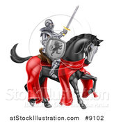Vector Illustration of a 3d Fully Armored Medieval Knight on a Black Horse, Holding a Sword and Shield by AtStockIllustration