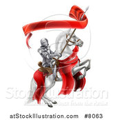 Vector Illustration of a 3d Fully Armored Medieval Knight on a Rearing White Horse, Holding a Banner Ribbon on a Spear by AtStockIllustration