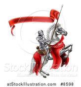 Vector Illustration of a 3d Fully Armored Medieval Knight on a Rearing White Horse, Holding a Spear Flag by AtStockIllustration