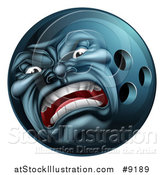 Vector Illustration of a 3d Furious Bowling Ball Mascot Character by AtStockIllustration