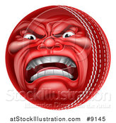 Vector Illustration of a 3d Furious Cricket Ball Mascot Character by AtStockIllustration