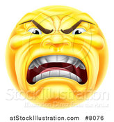 Vector Illustration of a 3d Furious Yellow Smiley Emoji Emoticon Face Shouting by AtStockIllustration