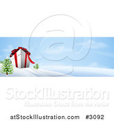 Vector Illustration of a 3d Giant Christmas Gift Box in a Snowy Landscape by AtStockIllustration