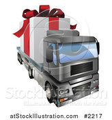 Vector Illustration of a 3d Giant Gift on a Big Rig by AtStockIllustration