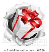 Vector Illustration of a 3d Gift Box Breaking Through a Wall by AtStockIllustration