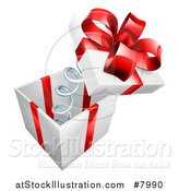 Vector Illustration of a 3d Gift Box with a Red Bow and the Lid Popping off on a Spring by AtStockIllustration