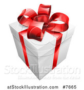 Vector Illustration of a 3d Gift Box with a Red Bow by AtStockIllustration