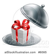 Vector Illustration of a 3d Gift Box with a Red Bow in a Cloche Platter by AtStockIllustration