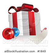 Vector Illustration of a 3d Gift Box with Ornaments and a Blank Tag by AtStockIllustration