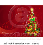 Vector Illustration of a 3d Gift Tower Christmas Tree on Red with Swirls by AtStockIllustration