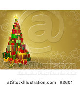 Vector Illustration of a 3d Gift Tower Christmas Tree over Gold with Snowflakes and Swirls by AtStockIllustration
