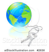 Vector Illustration of a 3d Globe Attached to Silver Keys by AtStockIllustration