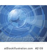 Vector Illustration of a 3d Globe in a Vortex by AtStockIllustration