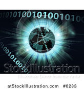 Vector Illustration of a 3d Globe over a Burst and Binary Code Data by AtStockIllustration