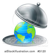Vector Illustration of a 3d Globe Searved on a Silver Platter by AtStockIllustration