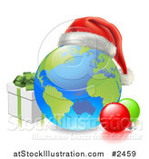 Vector Illustration of a 3d Globe with a Santa Hat Baubles and Christmas Gift Box by AtStockIllustration