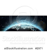 Vector Illustration of a 3d Globe with Blue Glowing Flight Plans by AtStockIllustration