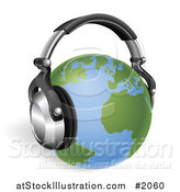 Vector Illustration of a 3d Globe with Headphones by AtStockIllustration