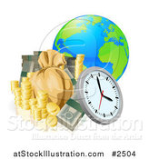 Vector Illustration of a 3d Globe with Money and a Clock by AtStockIllustration
