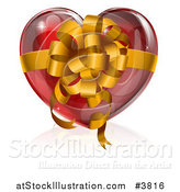Vector Illustration of a 3d Glossy Red Heart with a Gold Bow and Ribbon by AtStockIllustration