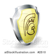 Vector Illustration of a 3d Gold and Chrome Spartan Trojan or Roman Shield by AtStockIllustration