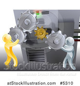 Vector Illustration of a 3d Gold and Silver Men Adjusting Gear Cogs Ona Machine by AtStockIllustration