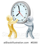 Vector Illustration of a 3d Gold and Silver Men Holding up a Clock by AtStockIllustration
