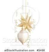 Vector Illustration of a 3d Gold and White Christmas Ornaments and Ribbons by AtStockIllustration