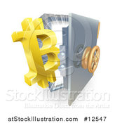 Vector Illustration of a 3d Gold Bitcoin Currency Symbol and Light Emerging from a Vault by AtStockIllustration