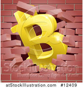 Vector Illustration of a 3d Gold Bitcoin Currency Symbol Breaking Through a Brick Wall by AtStockIllustration