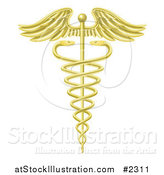 Vector Illustration of a 3d Gold Caduceus Symbol by AtStockIllustration