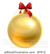 Vector Illustration of a 3d Gold Christmas Bauble Ornament with a Red Bow by AtStockIllustration